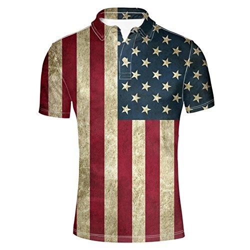 1d5bb8454ea HUGS IDEA Mens Stars Stripes Golf Polos Shirt American Flag T-Shirt Short  Sleeves Sport