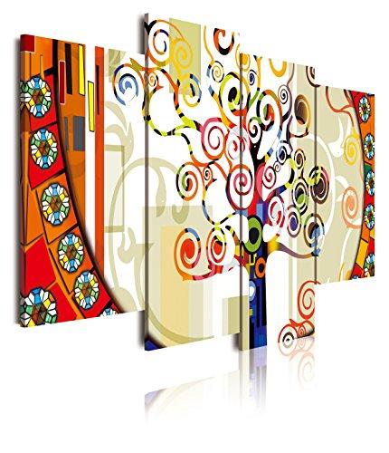 DEKOARTE 249 - Cuadro Moderno 4 Piezas arbol de la Vida Estilo Gustav Klimt, 120x3x90cm