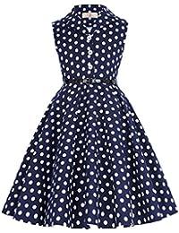 GRACE KARIN® Fille Rétro Vintage Robe de Princesse sans Manche 6-12 Ans