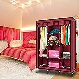 #10: Anva Fancy Double Door Large Maroon Portable Multipurpose Waterproof Fabric Wardrobe Closet Organizer