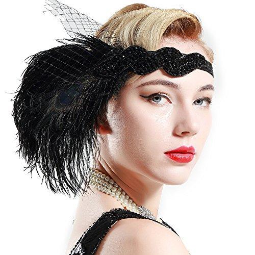 Schwarzes Kopfstück Flapper (BABEYOND Damen-Straußenfeder-Pfau-Stirnband 1920 Kopfstück-schwarze Flapper Gatsby Stirnband-wulstiges Kopfstück mit)