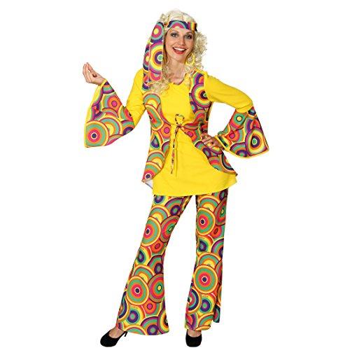 NET TOYS Hippie Kostüm Hippiekostüm Damen M 38/40 70er Jahre Anzug Flower Power Damenkostüm 60er Jahre Damenanzug Peace Faschingskostüm Woodstock Karneval Kostüme bunt