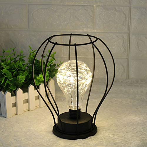 LONBID Schreibtischlampen Kupferdrahtlaterne Trichter Diamant Tischlampe Form Nachttischlampe Hause Tischdekoration, Arc Modellierung