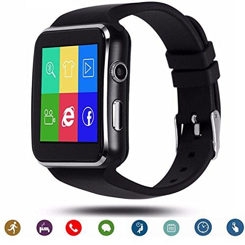 Tagobee TB01 Bluetooth Smart Uhr smartwatch mit Sim-Karte Kamera 2018 Upgrade HD Screentouch Smart Armbanduhr Facebook WhatsApp Benachrichtigung Funktionen kompatibel mit allen Android Smartphones und iPhone (Teilfunktion)schwarz