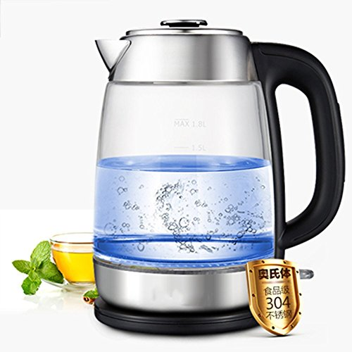 GPC Electric Kettle High Borosilicate Glass White Black Double Anti-Hot High Capacity 1500W 1.8L Separable Base Automatic Power off Insulation Home Travel Electric Kettles,White