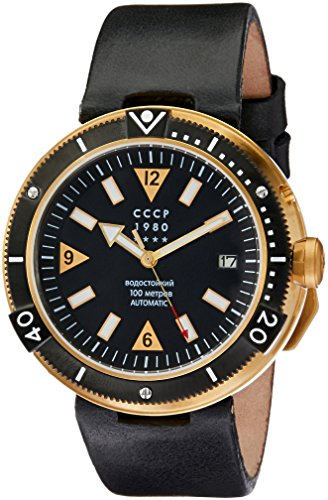 CCCP Men's Kashalot 47mm Leather Band Steel Case Automatic Watch CP-7027-03