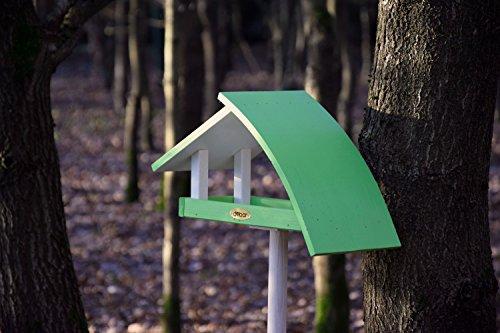 """Luxus-Vogelhaus 31014e Design Vogelhaus """"New Wave"""" aus Holz (Kiefer) für Garten, Balkon, mit Ständer, Schrägdach, Farbe: weiߟ-grün – Vogelhäuschen Vogel-Futterhaus - 6"""