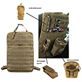 Tactical MOLLE Vehicle Front Seat Storage With Bottle/Flashlight/Recycle Pouch Car Seat Back Organizer Seat Cover Protector Universal Fit Multicolor (Black/Tan)