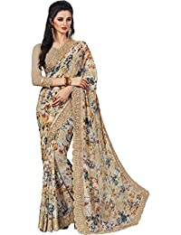 EthnicJunction Women's Georgette Gota Digital Marble Print Saree With Blouse (Multicolored,EJ1174-9183)