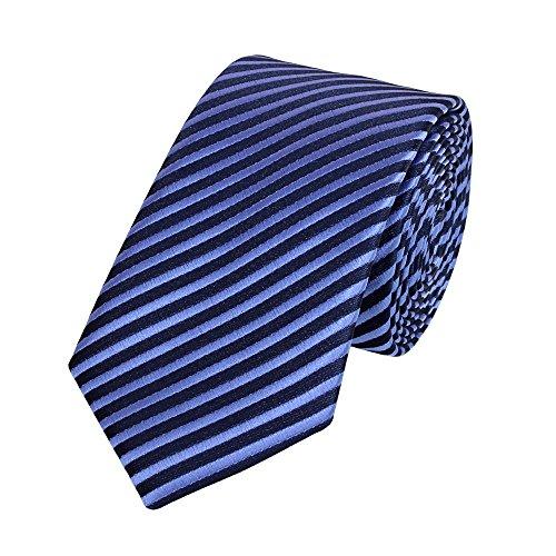 Blau Gestreiften Krawatte (Schmale 6-cm Slim Krawatte von Fabio Farini in verschiedenen Farben, geeignet für Arbeit, Hochzeit oder Ball, Blau gestreift)