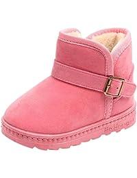 3305d8ad76d Botas de Nieve de Niñas con Botón Más Terciopelo de PU Zapatos de Bebé  Color Sólido