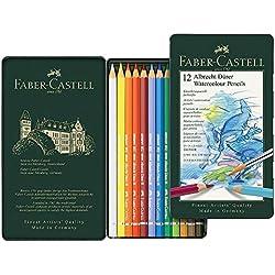 Faber-Castell 117512 - Estuche de metal con 12 lápices de colores acuarelables, multicolor