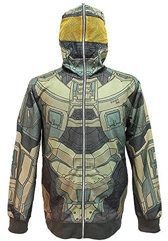 Halo Men's Master Chief Cosplay Full-Zip Hoodie (Medium)