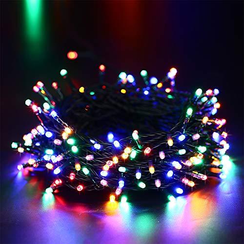 NEXVIM Luces de Arbol de Navidad, Guirnalda Luces de Pilas 10M 100 LED, Cadena de Luces Colores con 8 modelos de lluminación, Luces de Navidad Decoración para Jardín, Casa, Fiesta, Boda