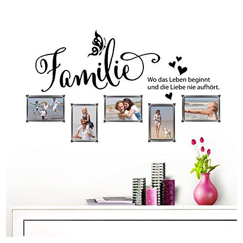 Grandora Wandtattoo Familie - Fotorahmen selbstklebend I schwarz (BxH) 84 x 49 cm I Aufkleber Sprüche für Wohnzimmer Modern Wandaufkleber W5000 -