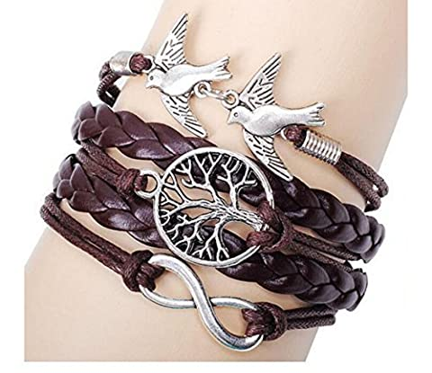 Most Beloved Vintage Style Black Leather Rope Tree Branches Love Birds Infinity Love Bracelet by Most Beloved