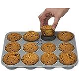 BackeFix - Silikon Muffinblech | einfach zufrieden sein ★ ohne Fett und Papier backen ★ beliebteste Silikon Muffinform ★ Premium Antihaft-Beschichtung | Muffin Backform, ideal für Cupcakes sowie Muffins | 2 Jahre Garantie | Silikon Muffinform (12er)