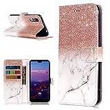 FNBK Hülle Kompatibel mit Huawei P20 Pro Handyhülle Marble Tasche Leder Flip Case Brieftasche Etui Schutzhülle für Huawei P20 Pro Klappetui mit Kartenschlitz Ständer Magnetverschluss,Rosegold Weiß