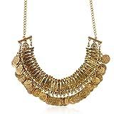 lureme Jahrgang gravierte Münze bib Aussage Halskette Schlüsselbein Halskette (01003295) (Antikes Gold)