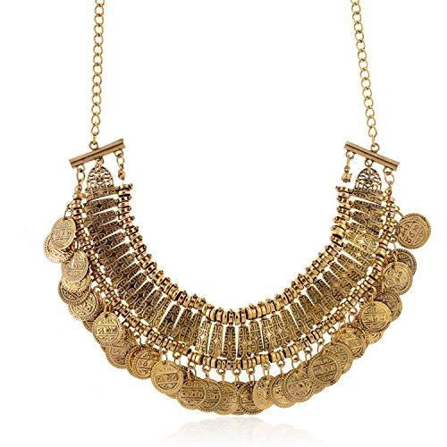 ierte Münze bib Aussage Halskette Schlüsselbein Halskette (01003295) (Antikes Gold) (Gold Münze Halskette)