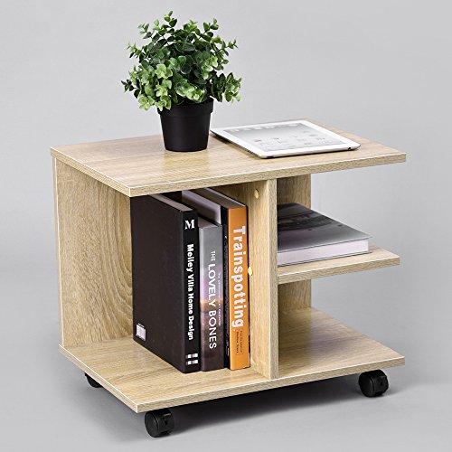 innovareds multi-fonction–Mueble TV televisión mesa de café mesa auxiliar mesilla de cama ruedas pivotantes con freno estantería estantes almacenaje roble