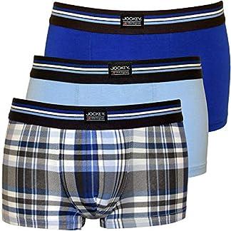 Jockey 3-Pack Comprobar Los Troncos De Los Hombres Boxer En Algodón Estiramiento, Combinación Azul