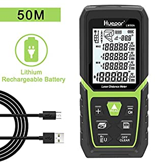 Huepar Laser Distance Measure 50M with Li-ion Battery & Electric Angle Sensor, Backlit LCD Laser Measure M/in/Ft with High Accuracy Multi-Measurement Modes, Pythagorean, Distance, Area&Volume-LM50A