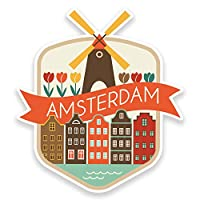 2 x 10cm Amsterdam Netherlands Vinyl Sticker Luggage Travel Tag Label Car #9188 (9cm Wide x 10cm Tall)