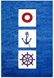 """Little Helper IVI Exclusive Hypo-Allergenic Large, Thick Pile & High Quality 3D Embossed Rug in """"Nautical"""" Design, Blue (100 x 150cm)"""