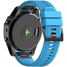 Garmin Fenix 5X Correa, Magiyard Reemplazo de Silicagel correa banda de instalación rápida Para Garmin Fenix 5X (Azul)