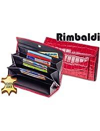 """""""Rimbaldi"""" Große Luxus Damen-Lederbörse mit Außen-Kleingeldfach aus bestem Rinderleder im Kroko-Design in 3D Rot-Multitone"""