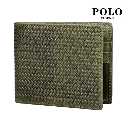 VIDENG POLO RFID Blockierung Bifold Wallet Echtes verrücktes Pferd Leder Geldbörsen zum Männer Jahrgang Legerer Stil (Braun-wc8) Olive-wc2