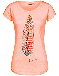 Urban Surface Damen T-Shirt Top Feder Feather LUS-097 Pailletten-Print