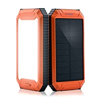 PowerGreen Power Bank Solar Charger with 32LED Flashlight 10000mAh Solar Power Bank Dual USB External Battery Pack for 5V Digital Mobile Devices 15