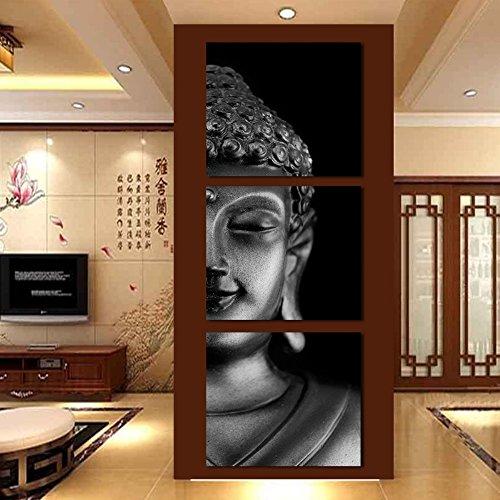 La Vie Tríptico Cuadro Buda Impresión Sobre Canvas Imagen Pintura Decorativa por Decoración del Hogar Salon Oficina Club Regalo