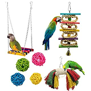 AOOPOO Parrot Toys Parrot Swing Birds Cage Chew Toys Rope Bite For Parrot Rattan Balls For Birds Pet Birds Toys