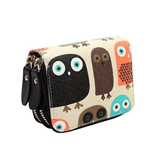 Très Chic Mailanda Geldtasche Eule Geldbeutel Tasche Portemonnaie umlaufende Reißverschlüsse mit Design Eulen groß für Damen (Eule 2)