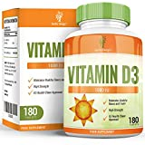Vitamin D3 1000 IU - High Strength Vit D Cholecalciferol - High Absorption Tablet - Suitable for Vegetarians- 180 Tablets (12 Months Supply) by Earths Design