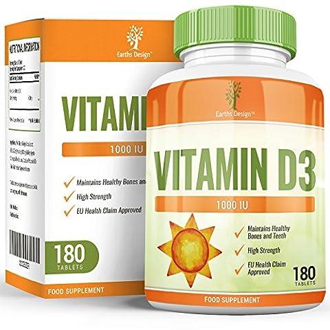 Vitamine D3 2000 IU - Vit D Cholécalciférol Haute Concentration - Comprimé Haute Absorption - 180 Comprimés (6 mois d'approvisionnement) de Earths Design
