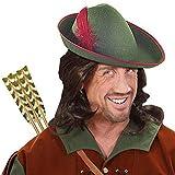 Robin Hood Hut König der Diebe Federhut Held in Strumpfhosen Spitzhut Bogenschütze Waldhut Försterhut Kappe Filzhut Mittelalter Helden Stoffhut Kopfbedeckung Karneval Kostüm Zubehör