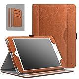 MoKo Hülle für iPad Mini 3/2 / 1 - Kunstleder Ständer Tasche Schutzhülle Smart Case Cover mit Dokumenteschlize Karte Slot und Standfunktion für Apple iPad Mini 3 / Mini 2 / Mini 1. Gen, Braun
