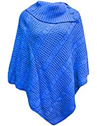 ea5d88a7ccc1ac New Women s Polo Neck Button Knitted Ponchos Wrap Shawl Jumper Top Plus One  Sizes. UK