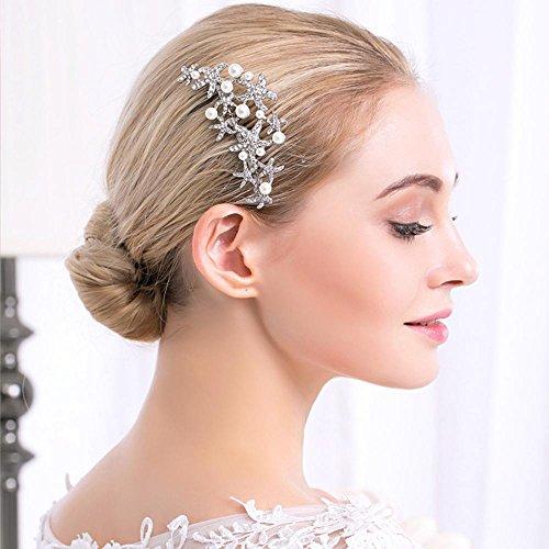 Haixng Braut Kopfschmuck Strass Haar Kamm, Perlen Haarschmuck, Hochzeit Kleid Zubehör, Größe: 9 cm * 6,5 cm - Kleid-haar-kämme