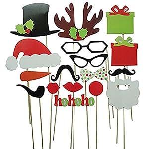 27pcs Christmas Santa Hat Party Masks Photo Booth Props Mustache On A Stick (17pcs)