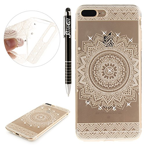 Custodia iPhone 7 Plus Glitter, iPhone 7 Plus Cover Silicone Trasparente, SainCat Cover per iPhone 7/8 Plus Custodia Silicone Morbido, Bling Glitter Strass Diamante Shock-Absorption Custodia Ultra Sli Mandala Bianca
