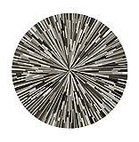 LYYDITAN zhdc/Teppich, geometrisches, abstraktes Muster, Schwarz-Weiß-Grau, schlicht, Computer-Tisch und Stühle Set 80cm ø 140cm, weich und bequem, Plastik, Diameter120cm