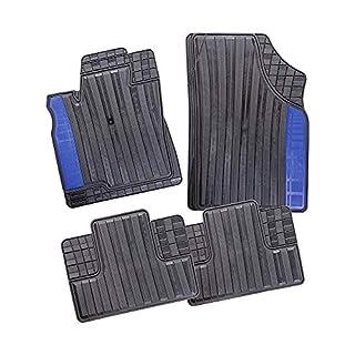 CarFashion 282465 Monaco   VarioFit 2   Allwetter Universal Fussmatte mit blauem Einstieg   Auto Gummimatten Set ohne Mattenhalter