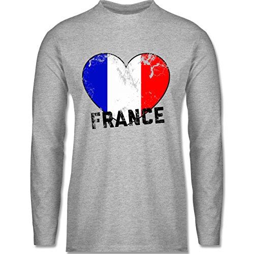 EM 2016 - Frankreich - France Herz Vintage - Longsleeve / langärmeliges T-Shirt für Herren Grau Meliert