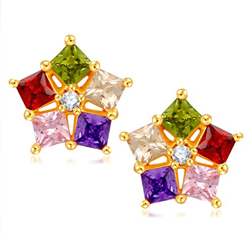 V. K. Jewels Multicolor Gold And Rhodium Plated Alloy Cz American Diamond Stud Earrings For Women [Vker1681G]