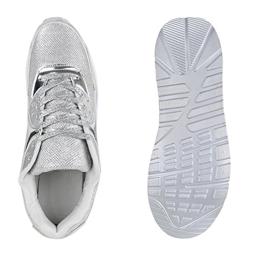 Herren Sportschuhe Leder-Optik | Sneakers Velours Glitzer | Metallic Runners | Freizeitschuhe Schnürer Silber Brooklyn